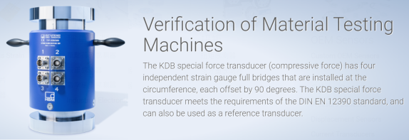 HBM KDB force transducer for verification of material testing machine