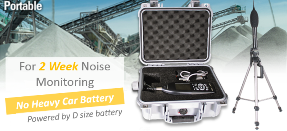 2 week noise monitoring without heavy car battery